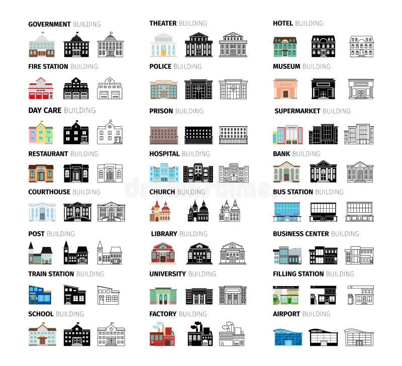 Установленные значки шаржа зданий бесплатная иллюстрация