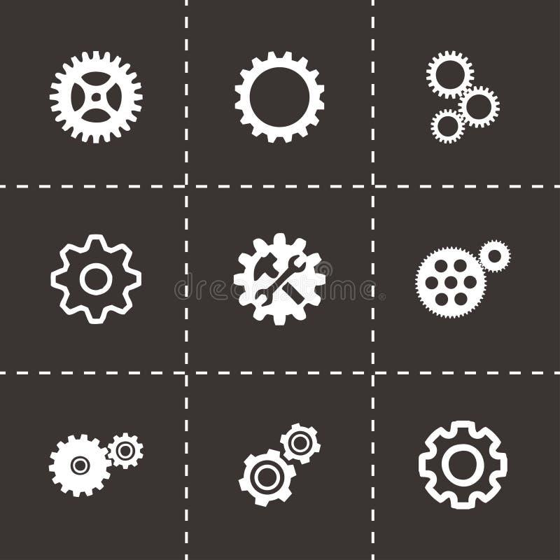 Установленные значки шестерни вектора иллюстрация вектора