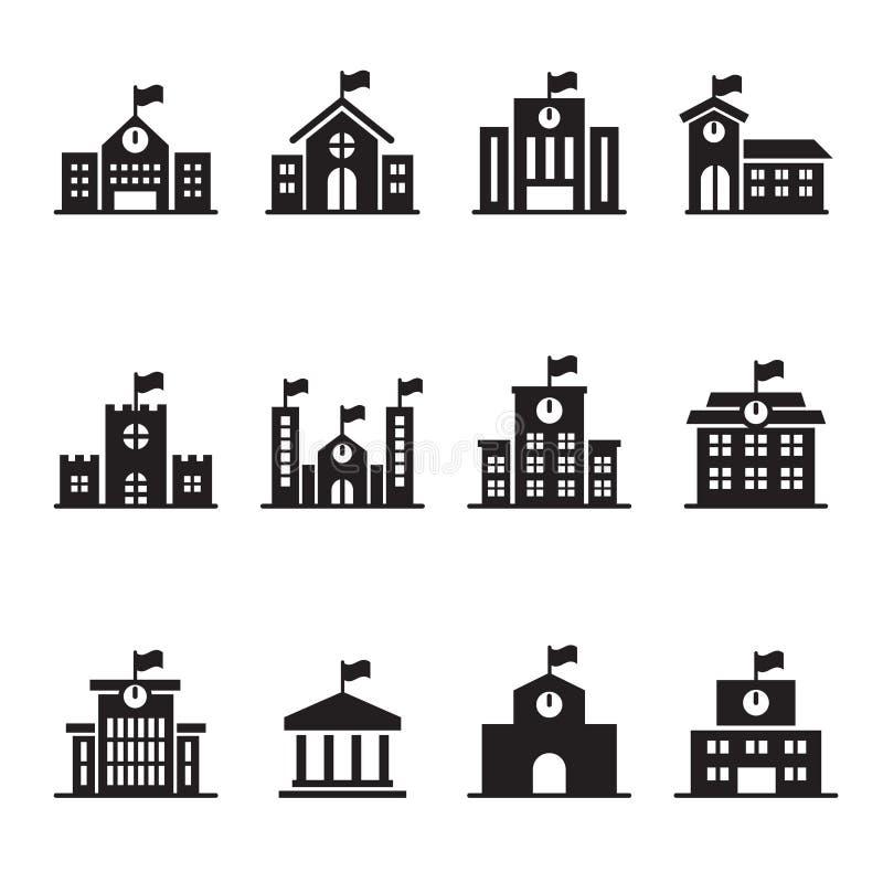 Установленные значки школьного здания иллюстрация штока