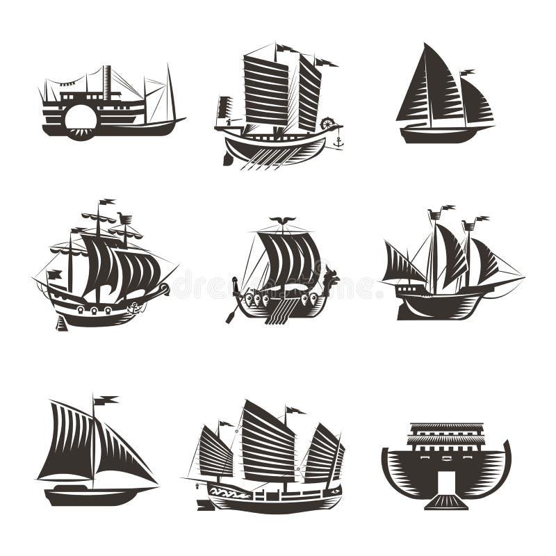 Установленные значки шлюпки и корабля бесплатная иллюстрация