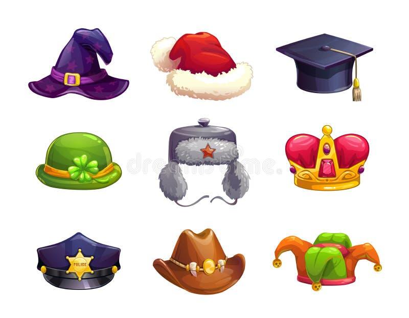 Установленные значки шляпы шаржа различные иллюстрация вектора