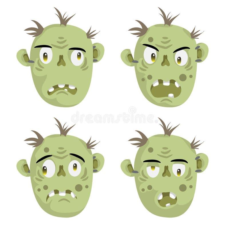 Установленные значки эмоции зомби головные страшные пугающие иллюстрация вектора