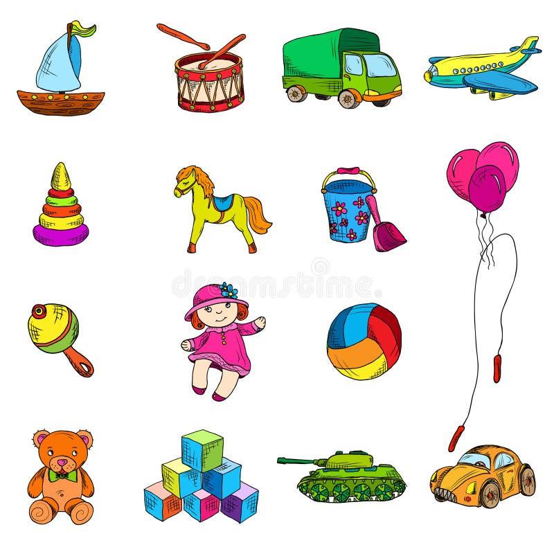 Установленные значки эскиза игрушек бесплатная иллюстрация