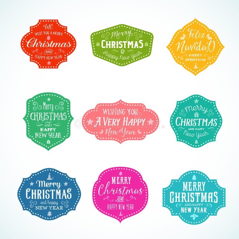 Установленные значки, ярлыки или стикеры вектора рождества винтажного цвета оформления яркого милые Ретро формы с свечой, звездой бесплатная иллюстрация