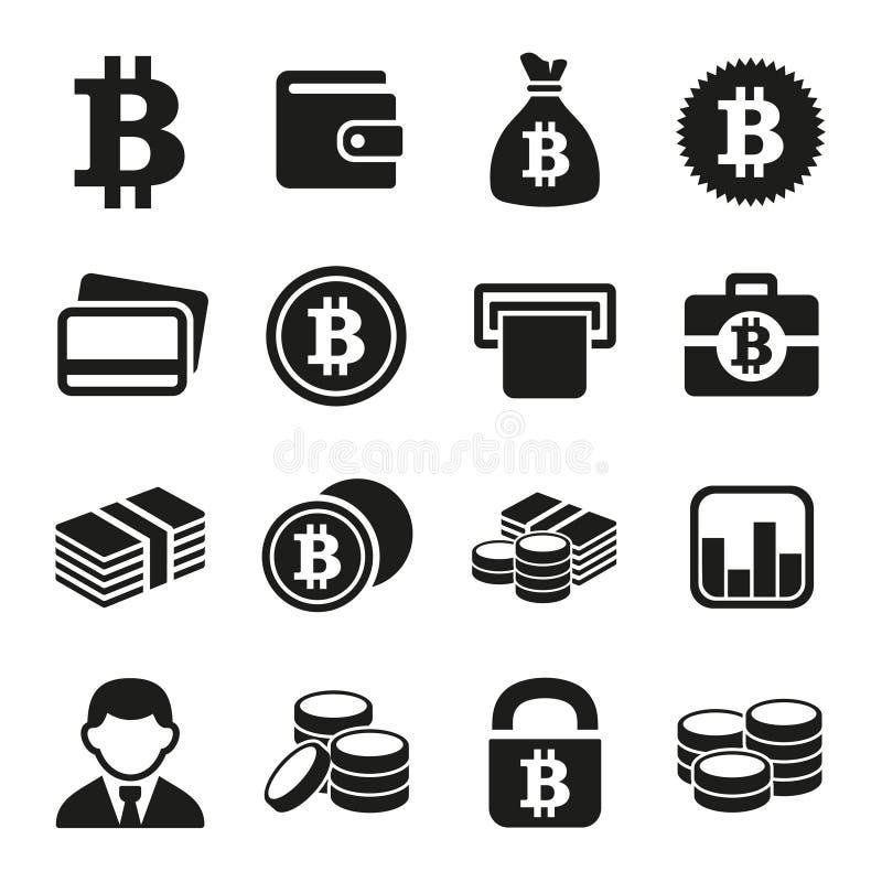 Установленные значки Bitcoin иллюстрация штока