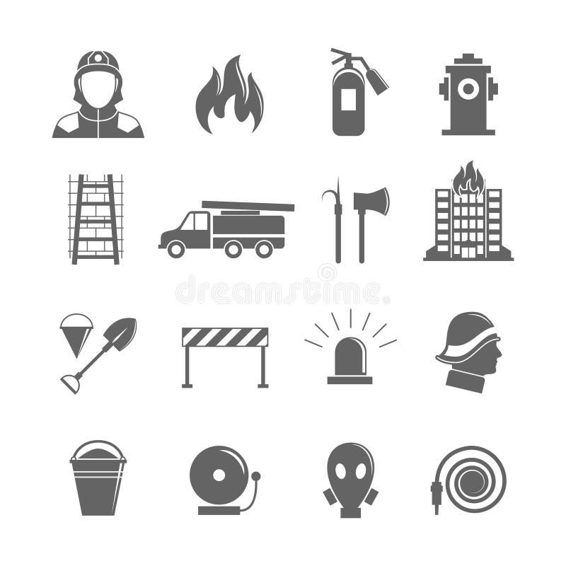 Установленные значки Firefighting иллюстрация штока