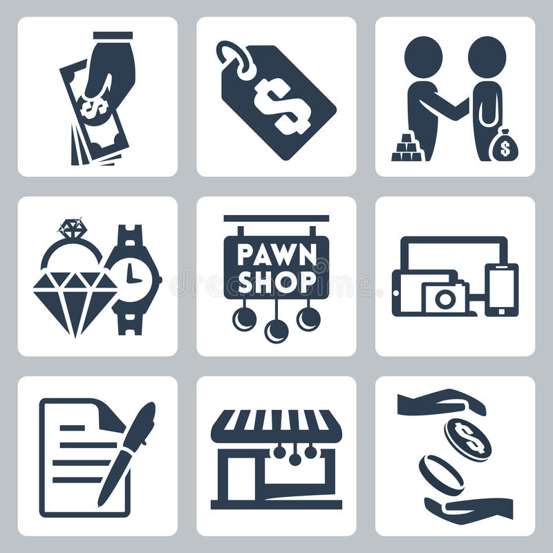 Установленные значки pawnshop вектора иллюстрация штока