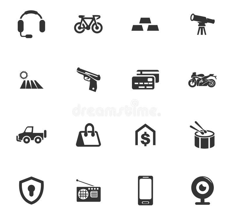 Установленные значки Pawnshop иллюстрация вектора
