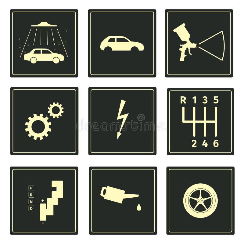 Установленные значки serice автомобиля бесплатная иллюстрация