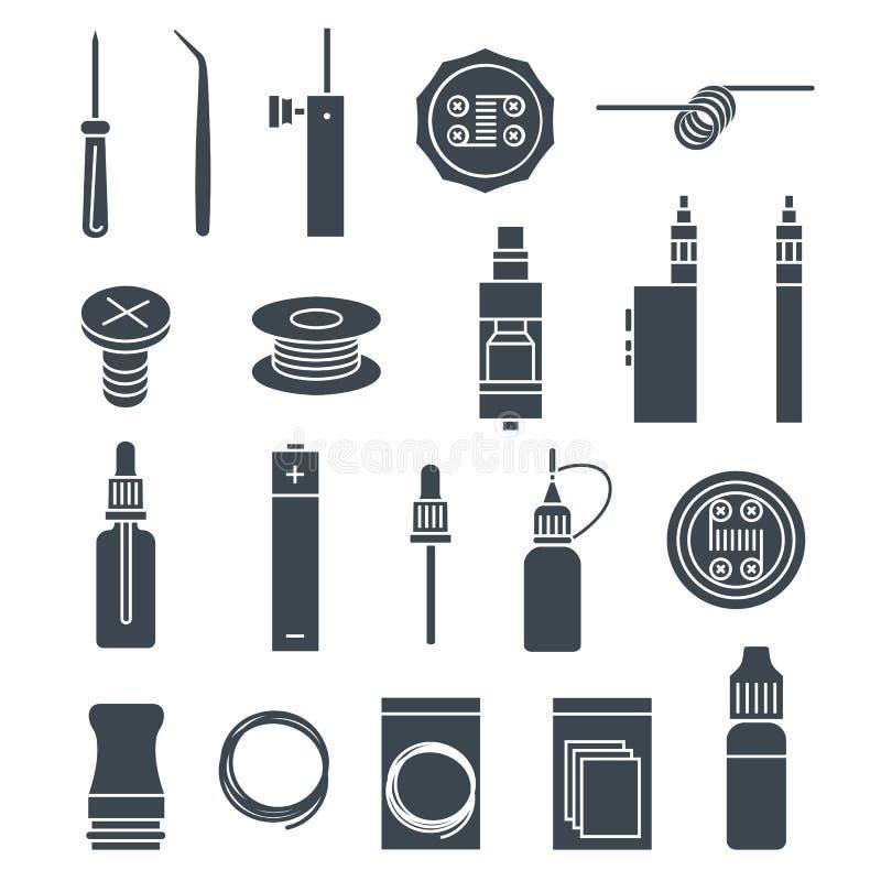 Установленные значки Vape стоковые изображения
