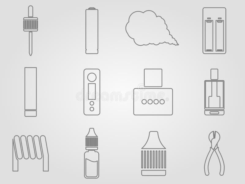 Установленные значки Vaping стоковое изображение