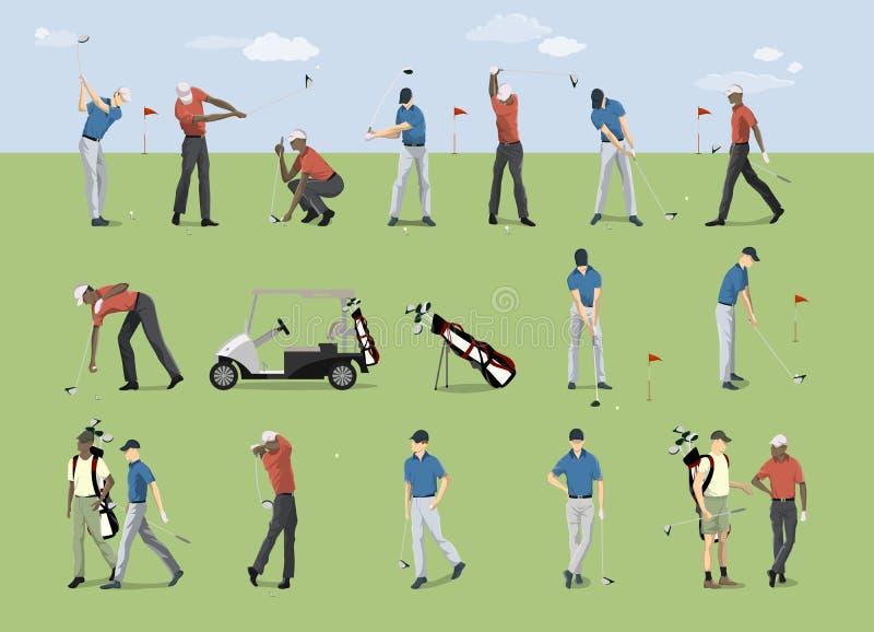 Установленные игроки гольфа иллюстрация вектора