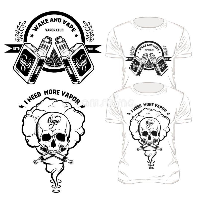 Установленные дизайны футболки Vape бесплатная иллюстрация