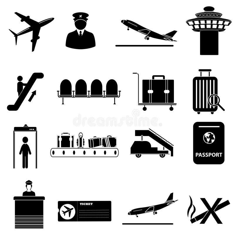 установленные иконы авиапорта иллюстрация вектора