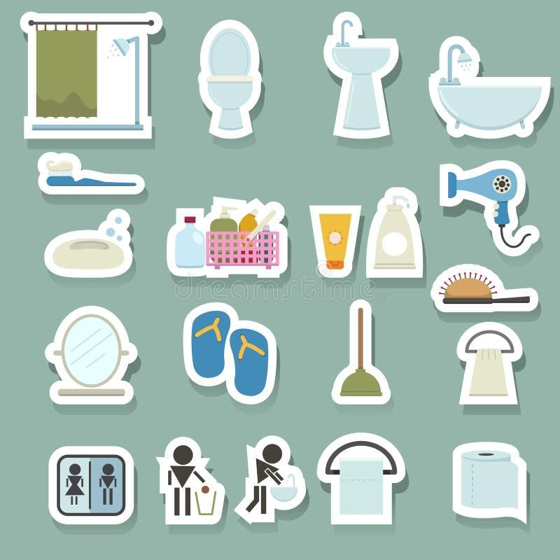 установленные иконы ванной комнаты иллюстрация штока