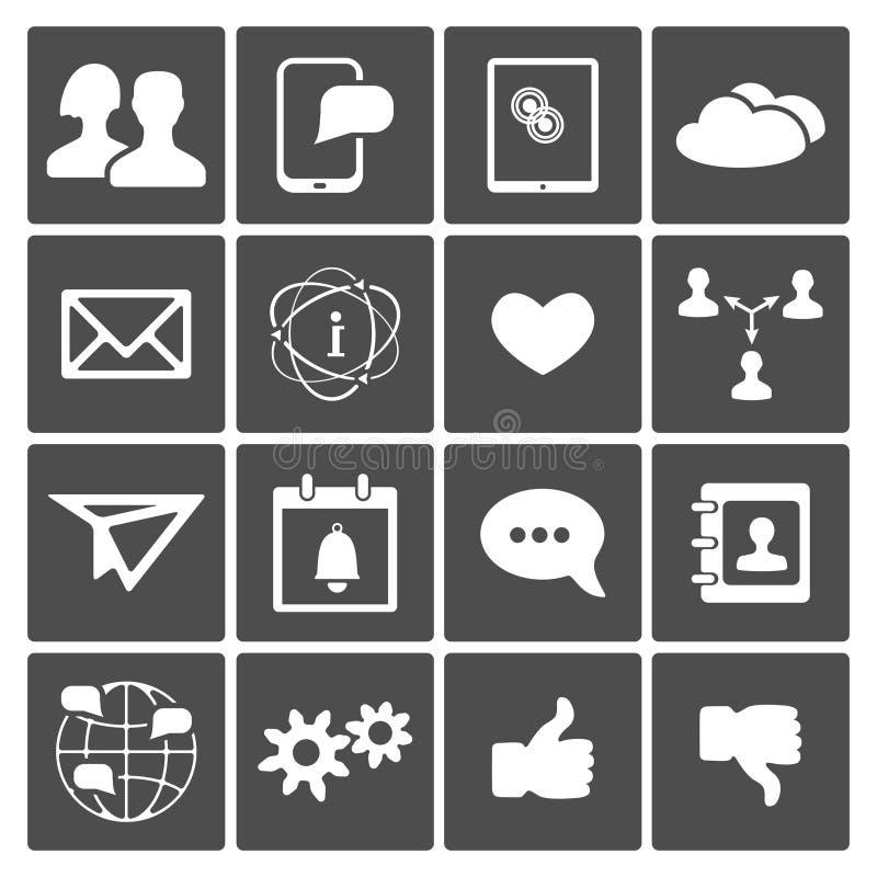 Социальные установленные иконы иллюстрация вектора