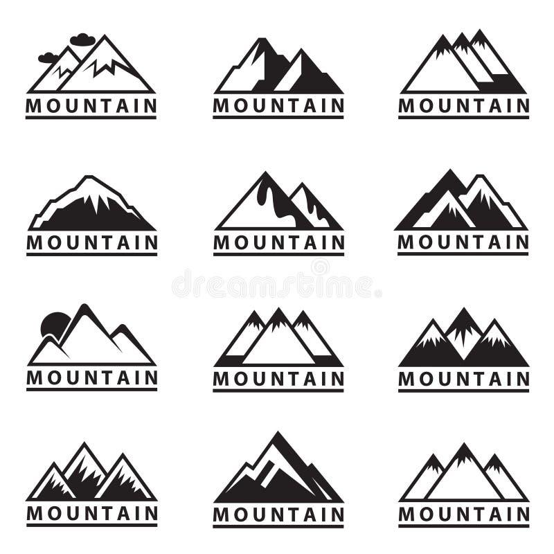 Установленные иконы горы иллюстрация штока