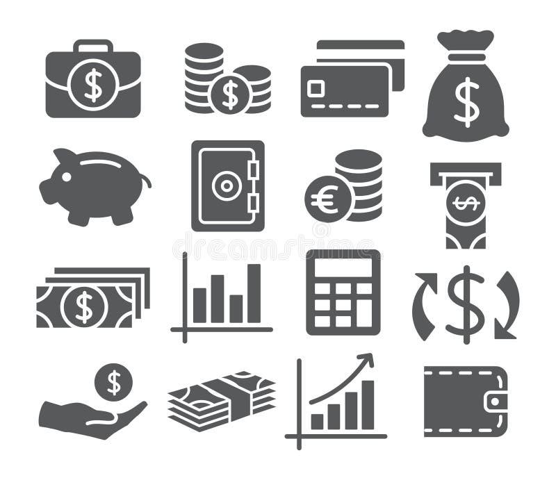 Установленные иконы денег бесплатная иллюстрация