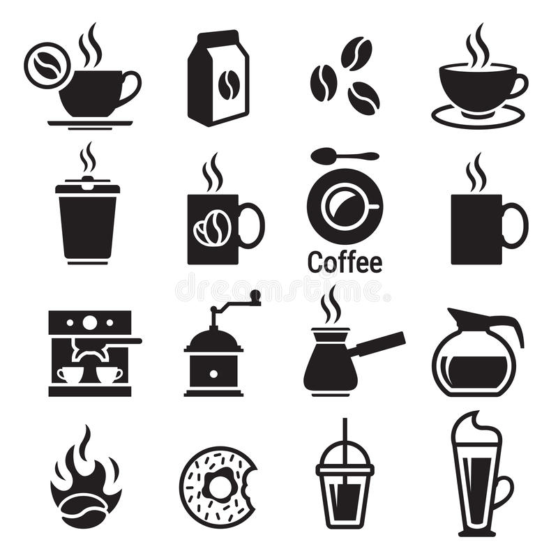 установленные иконы кофе иллюстрация штока