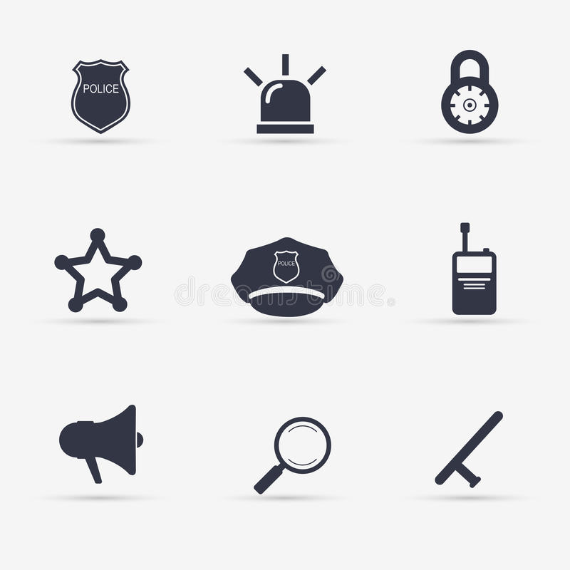 Установленные иконы полиций иллюстрация иллюстрация вектора