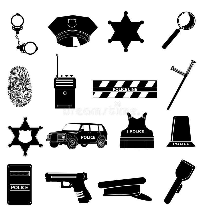 Установленные иконы полиций иллюстрация штока