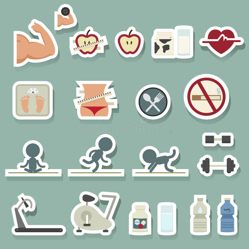 установленные иконы пригодности иллюстрация штока