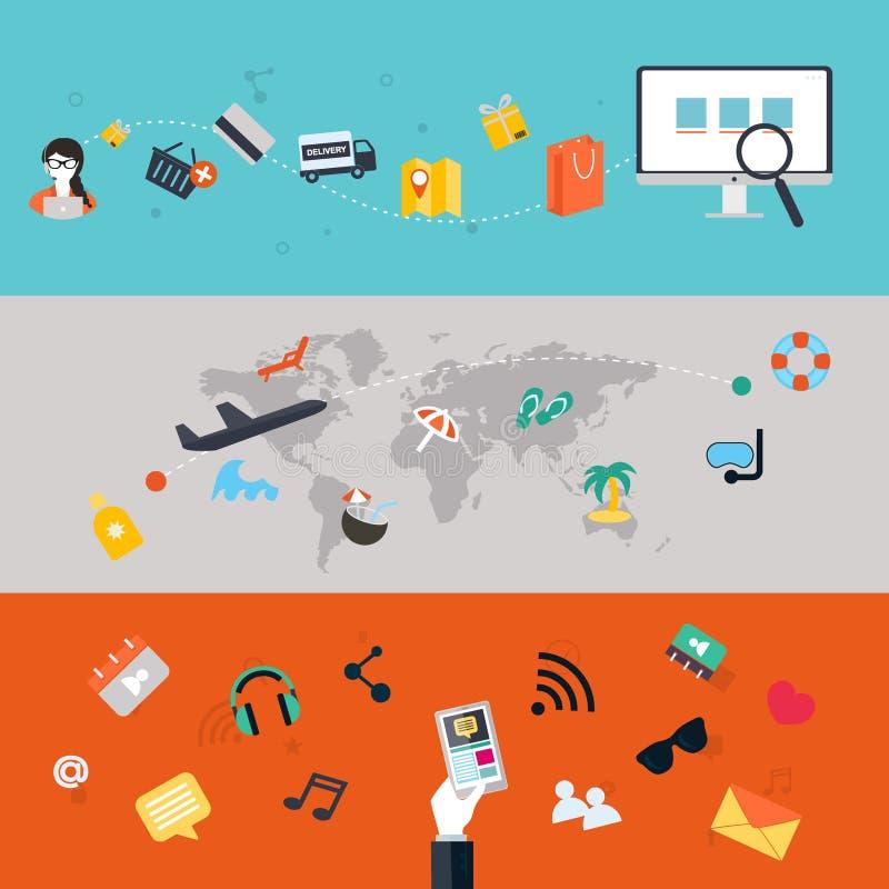 установленные иконы Плоский дизайн ПК мобильных телефонов, таблетки, сеть и App бесплатная иллюстрация