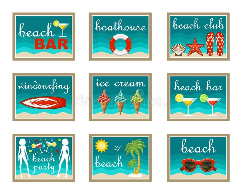 установленные иконы пляжа иллюстрация штока