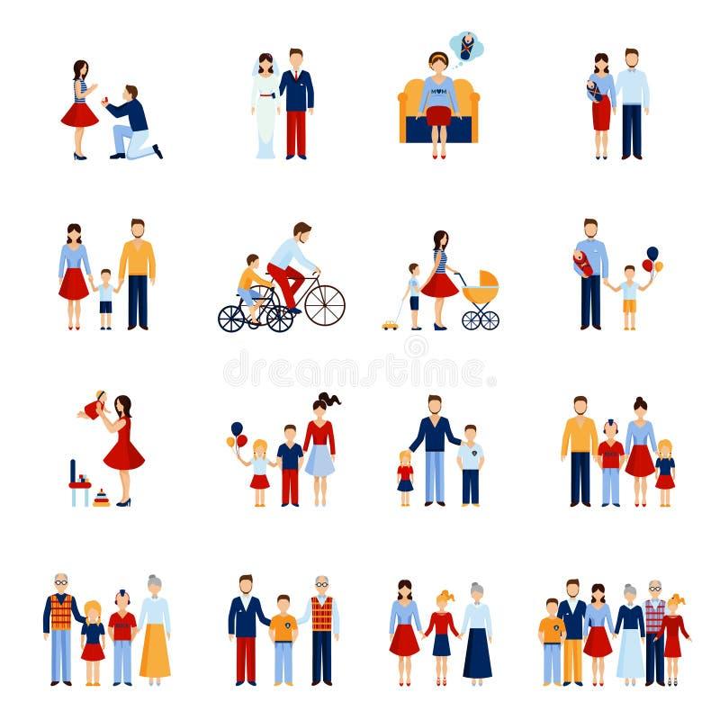 установленные иконы семьи иллюстрация вектора