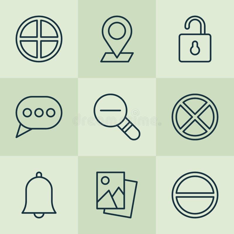 установленные иконы Собрание открывает, пузырь сообщения иллюстрация штока