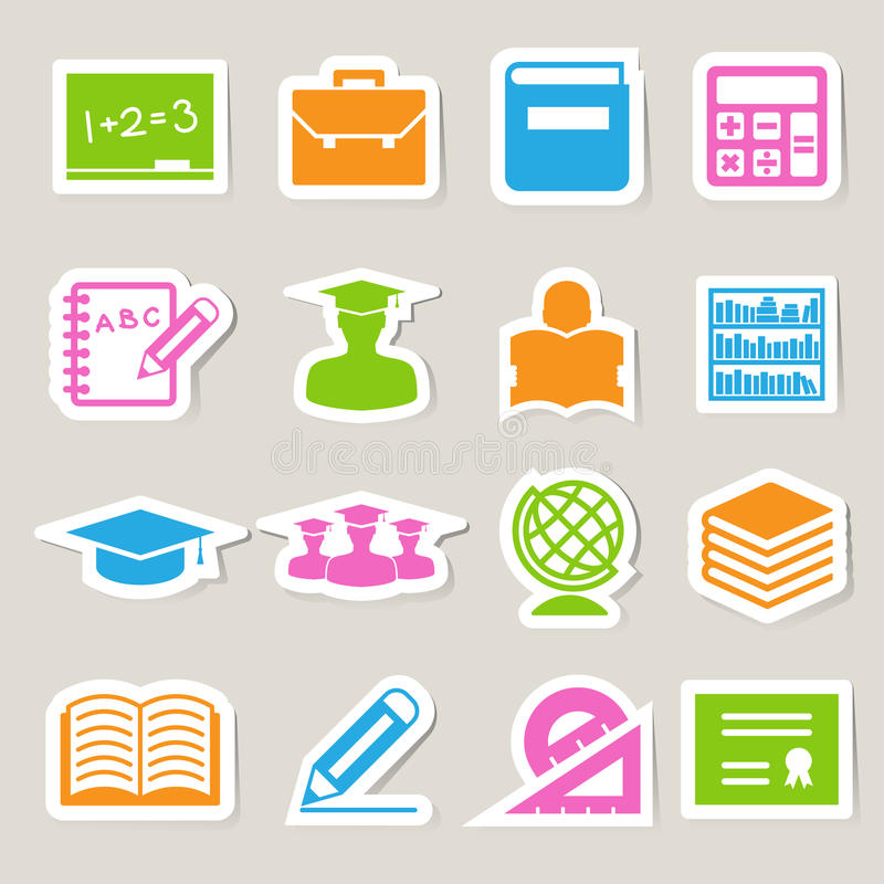 Установленные иконы стикера образования. бесплатная иллюстрация