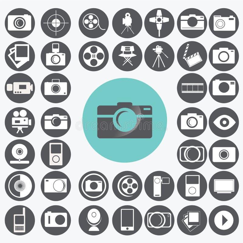 Установленные иконы съемки иллюстрация штока