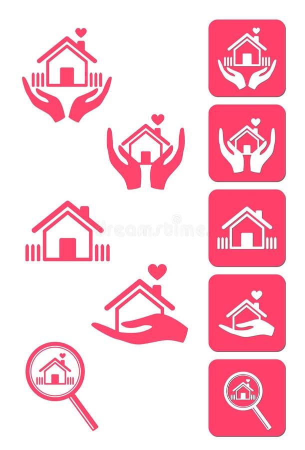 установленные иконы элементов графические домашние иллюстрация штока