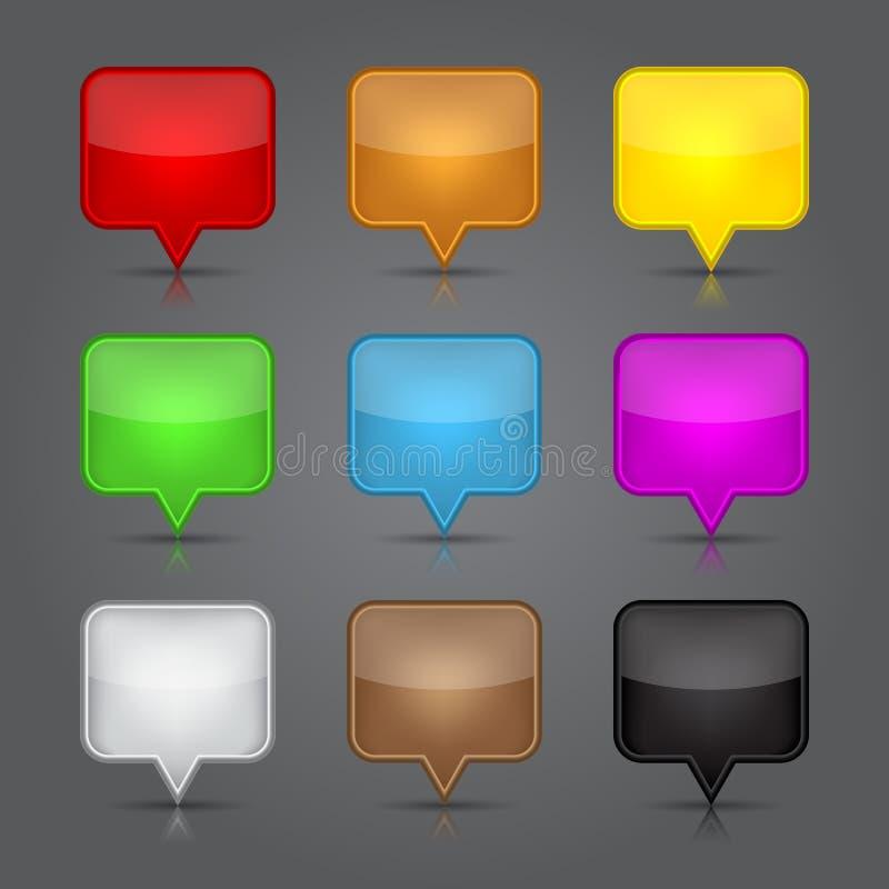 Установленные иконы App. Лоснистая пустая кнопка паутины иконы штыря карты. бесплатная иллюстрация