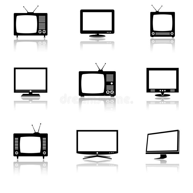 Установленные иконы TV бесплатная иллюстрация