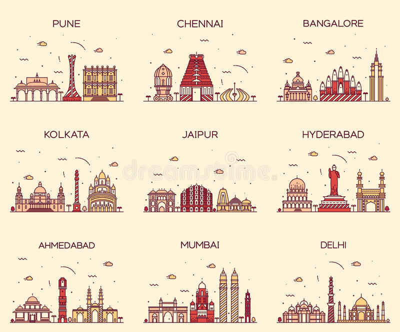 Установленные индийские горизонты Мумбай Дели Джайпур Kolkata стоковое изображение rf
