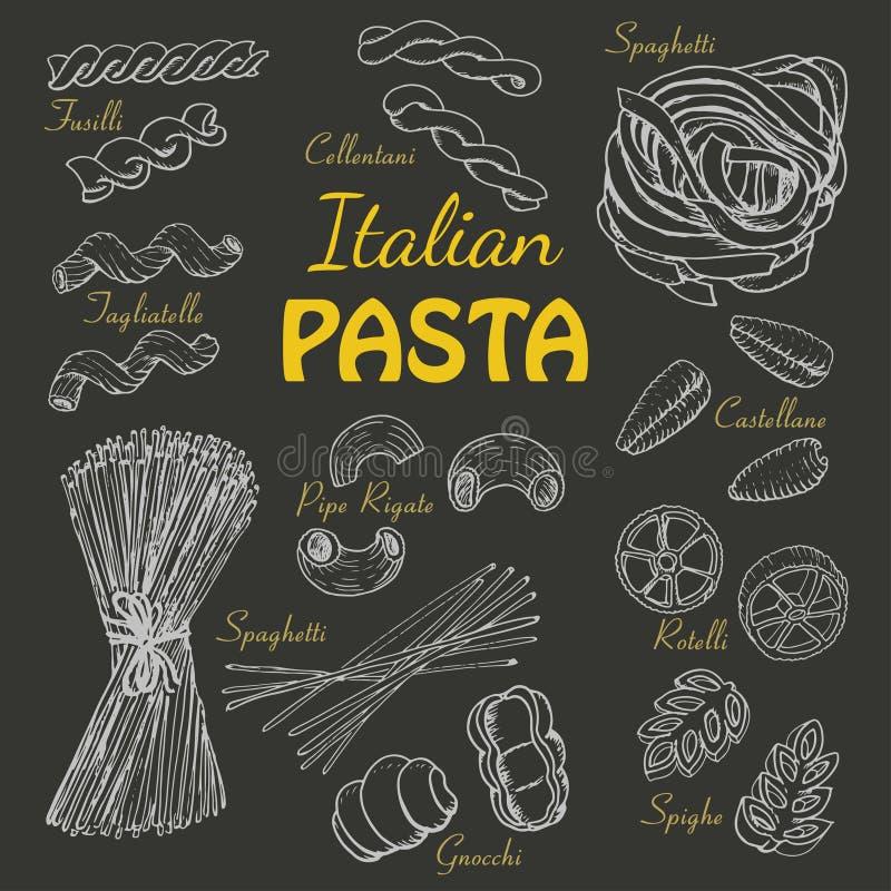 Установленные итальянские макаронные изделия на темной предпосылке иллюстрация штока