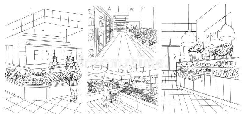 Установленные иллюстрации контура супермаркета внутренней нарисованные рукой Гастроном: рыбы, хлеб, плодоовощ, vegetable отделы с иллюстрация вектора