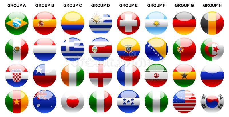 Установленные иллюстраци-значки кубка мира 2014 флагов иллюстрация вектора