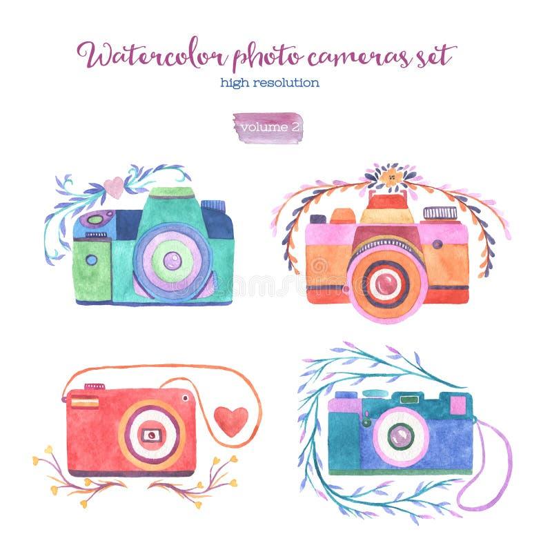 Установленные камеры фото акварели иллюстрация штока
