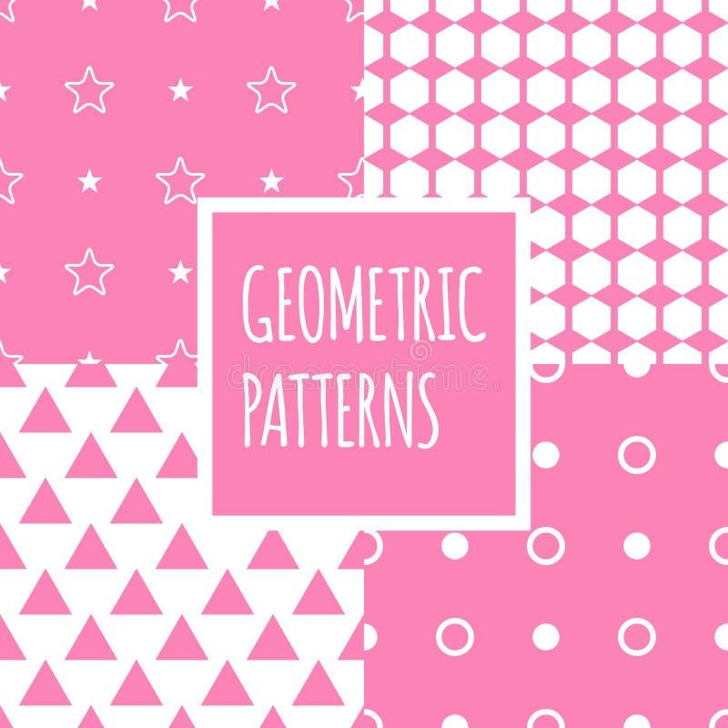 Установленные картины вектора геометрические розовые безшовные Дети иллюстрация вектора