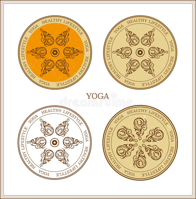 установленные картины Йога-стиля иллюстрация вектора