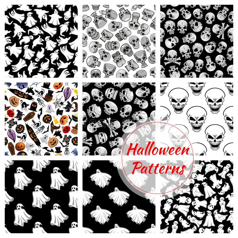 Установленные картины украшения хеллоуина безшовные иллюстрация вектора