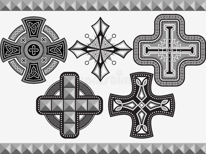 Установленные кельтские кресты бесплатная иллюстрация
