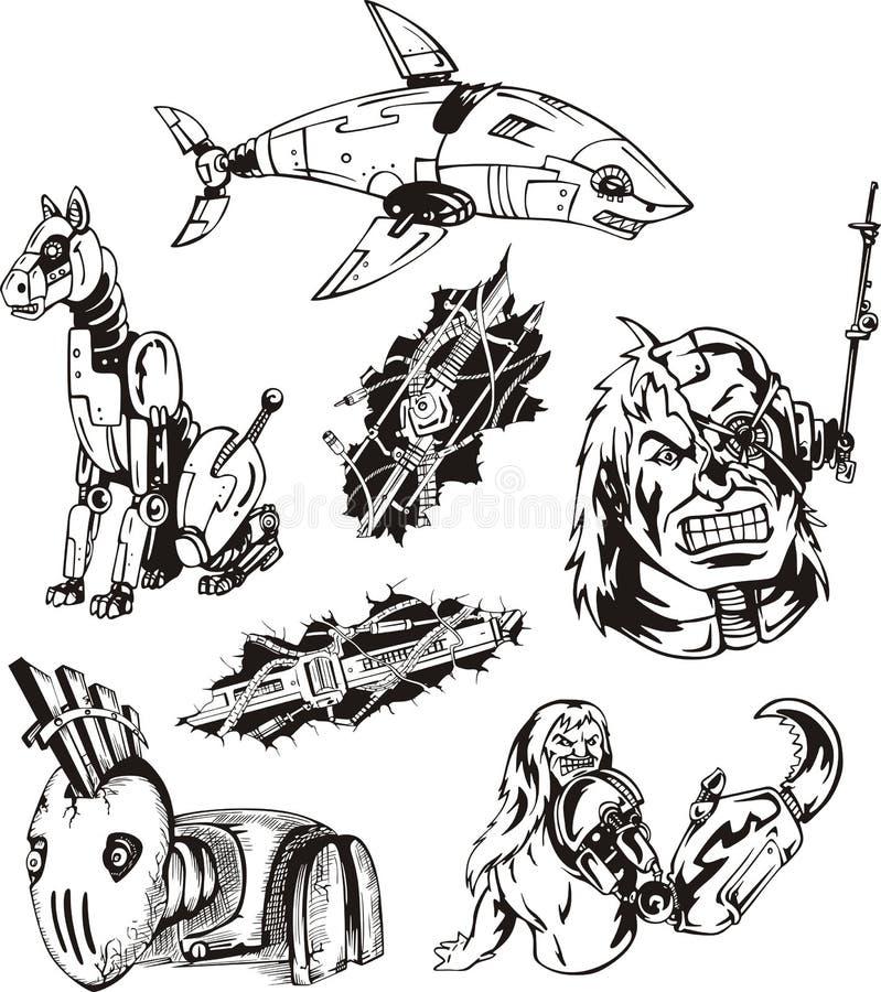 Установленные киборги и роботы иллюстрация штока