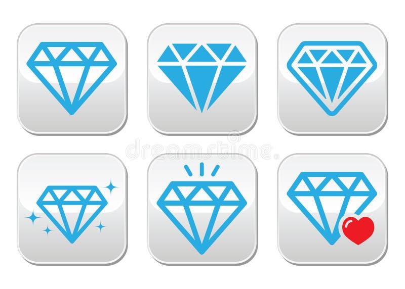 Установленные кнопки вектора диаманта роскошные иллюстрация штока