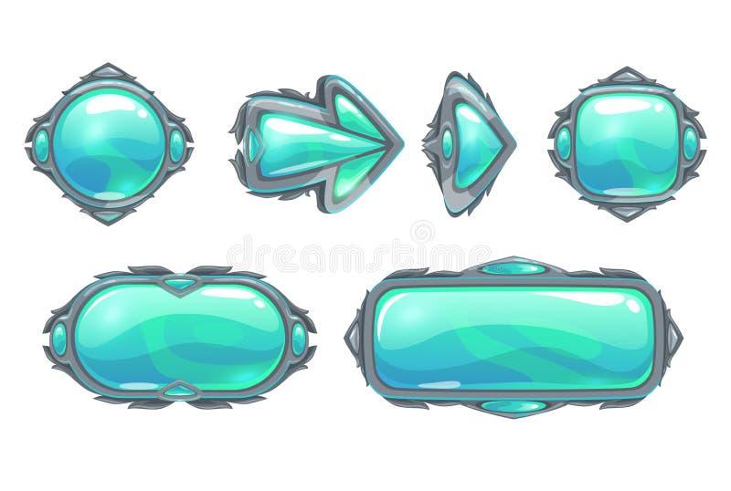 Установленные кнопки холодной фантазии голубые иллюстрация вектора
