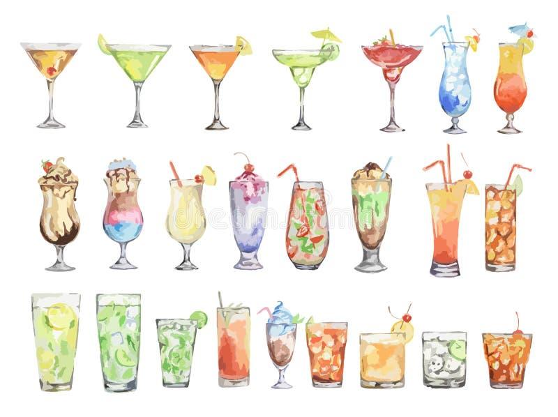 Установленные коктеили акварели иллюстрация вектора