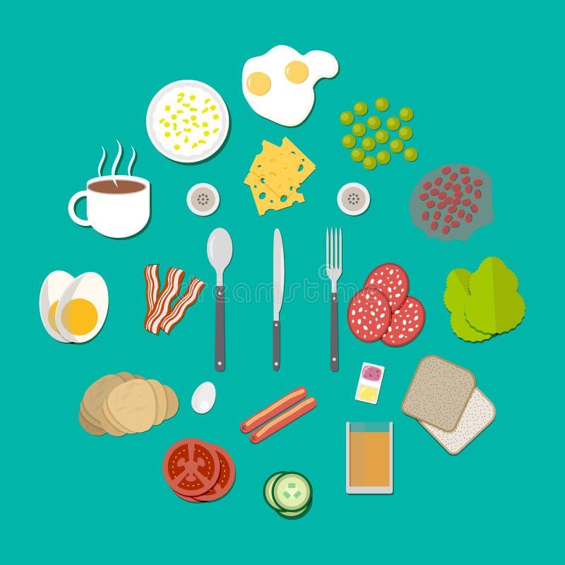 Установленные компоненты завтрака бесплатная иллюстрация