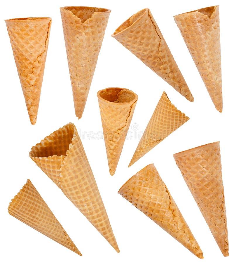 Установленные конусы мороженого стоковое фото